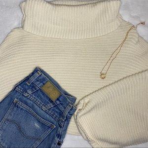 Free People Cream Mockneck Sweater